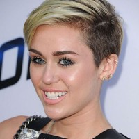 Miley Cyrus Short Haircut: Platinum Dip Dye Side-buzzed Pixie
