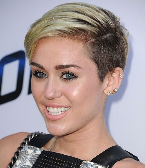 Miley Cyrus Short Haircut  Platinum Dip Dye Side-buzzed PixieMiley Cyrus Haircut Back