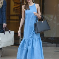 Miranda Kerr: Loose Blue Day Dress by Louis Vuitton