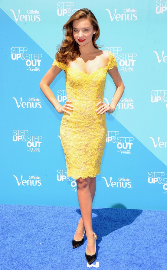 Miranda Kerr: Yellow Lace Off-the-Shoulder Dress by Reem Acra
