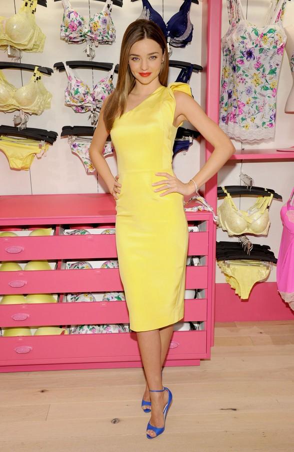 Miranda Kerr: Yellow Tabitha Webb One Shoulder Dress