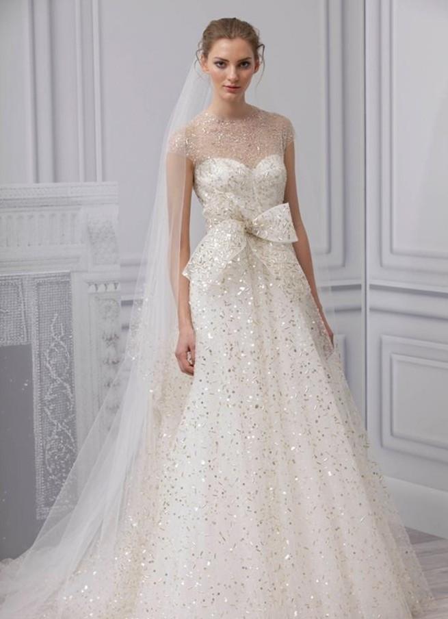 Monique Lhuillier Bridal Champagne Wedding Dress