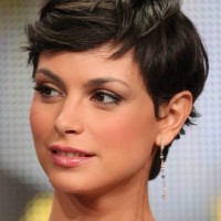 Morena Baccarin: Curly Wavy Messy Brunette Pixie Hair