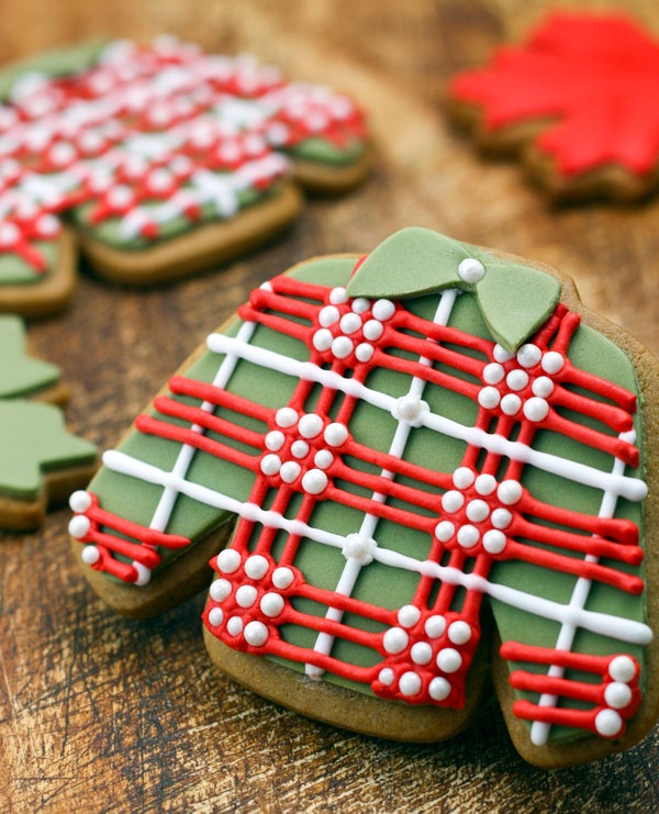 Plaid sweater cookies for Christmas