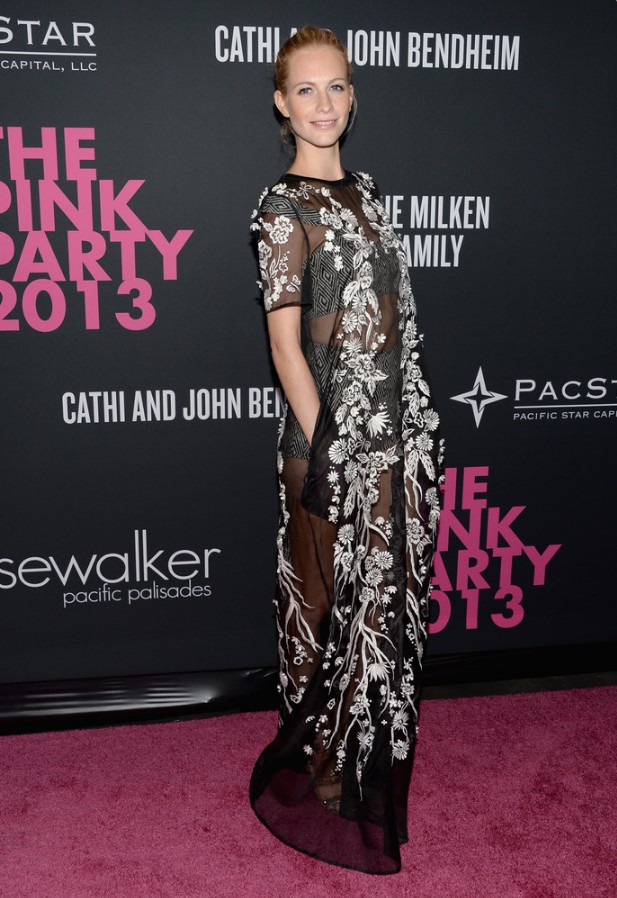 Poppy Delevingne: Mathew Williamson Evening Dress Featuring White Floral Embroidery