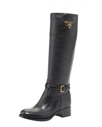 Prada Logo Leather Riding Boot
