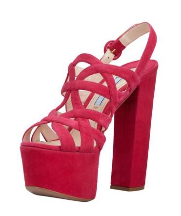 Prada Super Platform Suede Cage Slingback Sandal