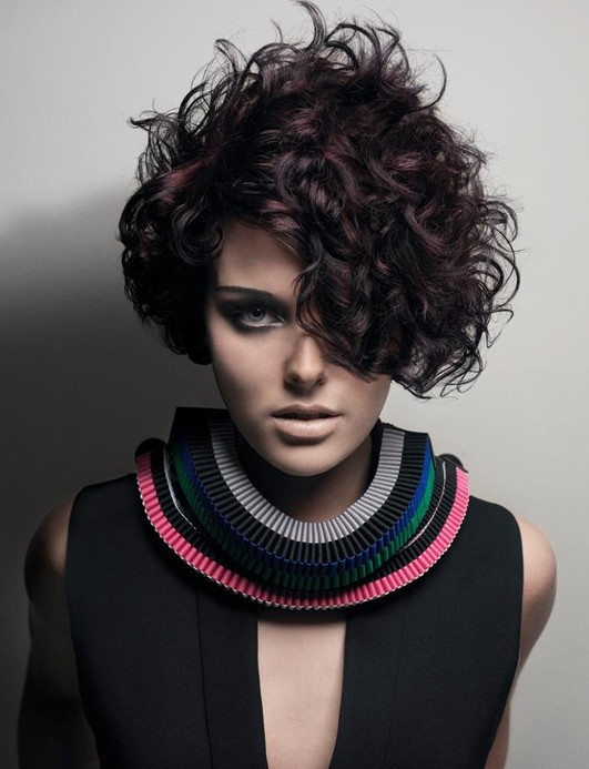 Purple Black Hairstyle: Trendy Short Curly Hairstyle for 2014