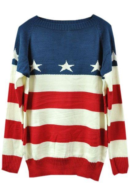 Red-white Striped Stars Print Blue Jumper - The Latest Street Fashion 2014