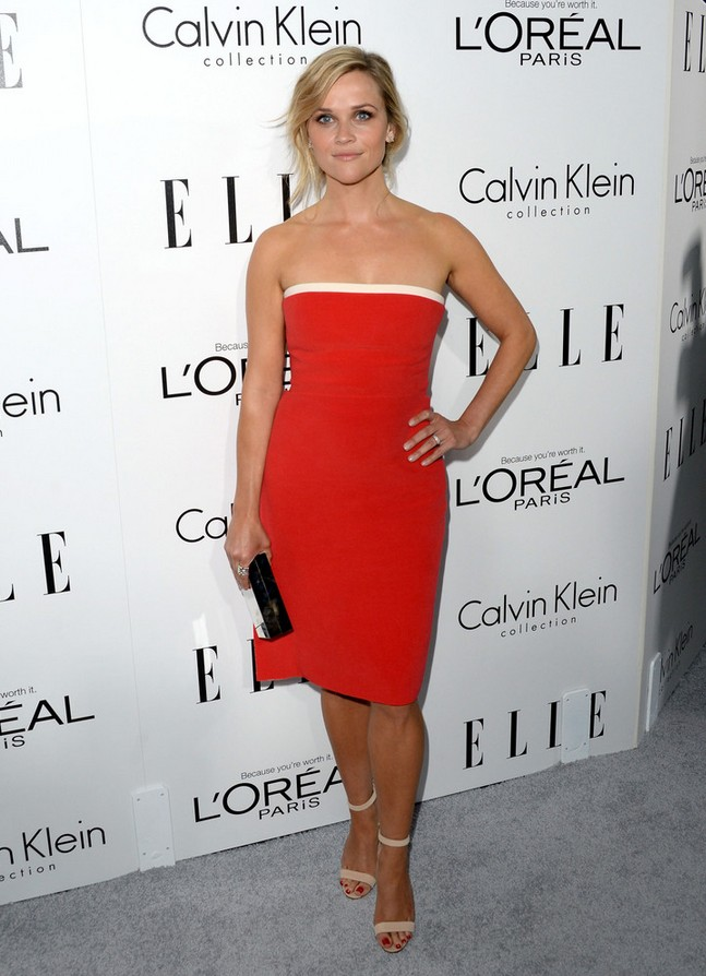 Reese Witherspoon: Red Strapless Dress by Calvin Klein