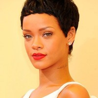 Rihanna Short Haircut: Ultra-short Black Curly Pixie Cut