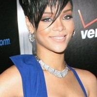 Rihanna Short Haircut: Black Short Pixie Cut with Long Side Bangs