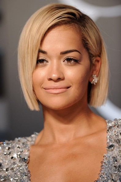 Rita Ora Short hairstyles: Sleek Blonde Bob with Side Swept Fringe