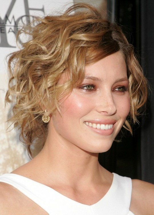 side swept hairstyles for short hair : Romantic Short Curly Hairstyle with Side Swept Fringes: Hairstyle for ...