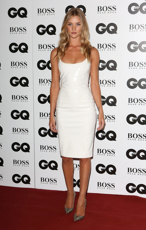 Rosie Huntington-Whiteley: Little White Leather Dress by Versace