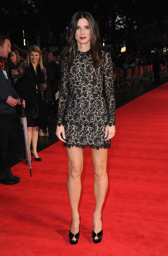 Sandra Bullock: Black Lace Stella McCartney Mini Dress