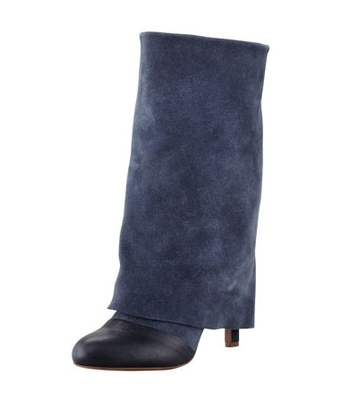 See by Chloe Fold-Over Suede Mid-Calf Boot, Navy