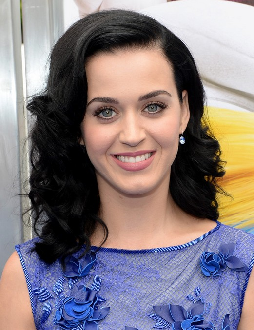 Sexy Side Parted Medium Black Hairstyle for women from Katy Perry