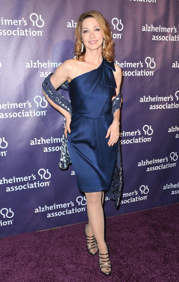 Sharon Lawrence: Blue Satin One Shoulder Dress