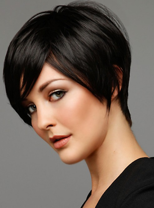 Short Black Haircut with Side Swept Bangs