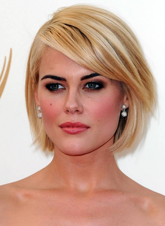 Short Blonde Bob Hairstyle with Side Swept Bangs