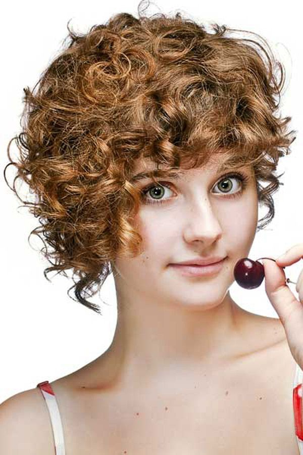 Bronze Short Curly Wavy Hairstyle