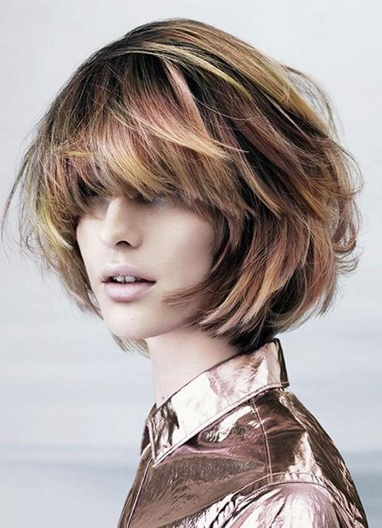 Short Haircut  - Stylish Highlighted Messy Bob Hairstyle