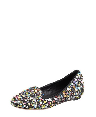 Side View of Alice + Olivia Drake Sequined Contetti Smoking Slipper