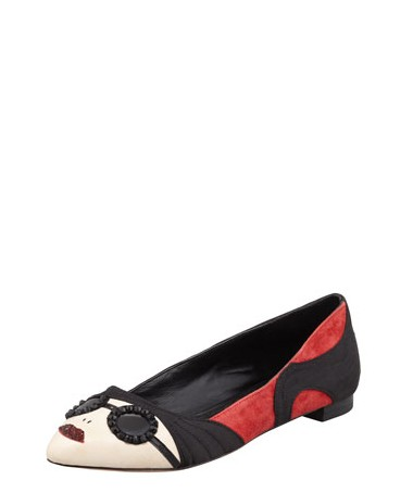 Side View of Alice + Olivia Stacey Mixed-Media Flat