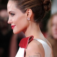 Side View of Bun - Elegant Bun Updo for 2014, Angelina Jolie Hairstyle