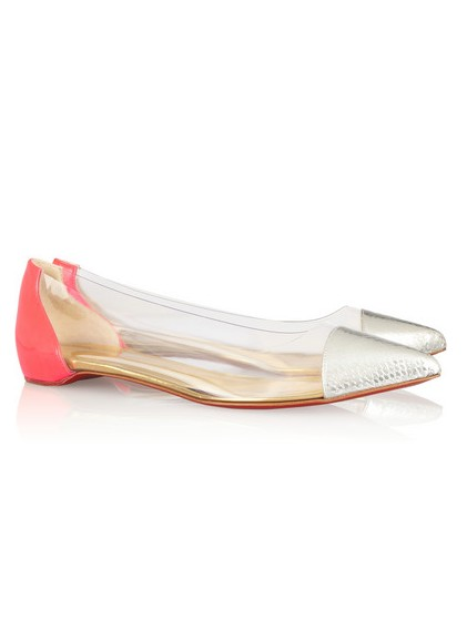 Side View of Christian Louboutin Corbeau ayers, leather and PVC flat