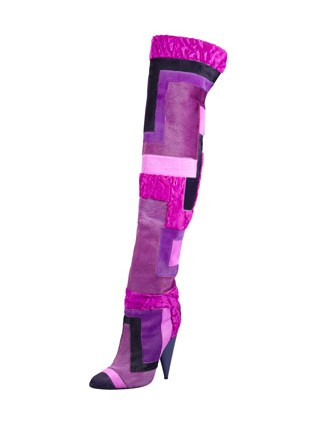 Side View of Tom Ford Geometric Patchwork Fur Over-the-Knee Boot