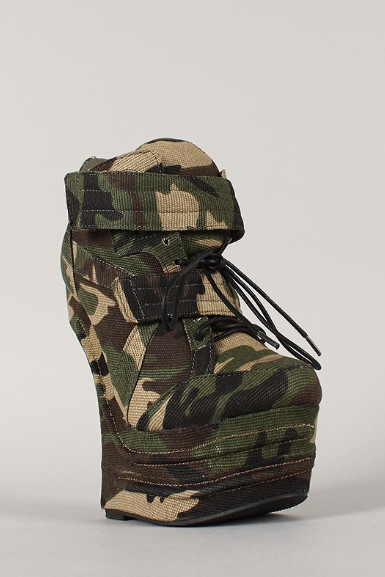 Side View of the Camouflage Lace Up Heel Less Curved Wedge Sneaker