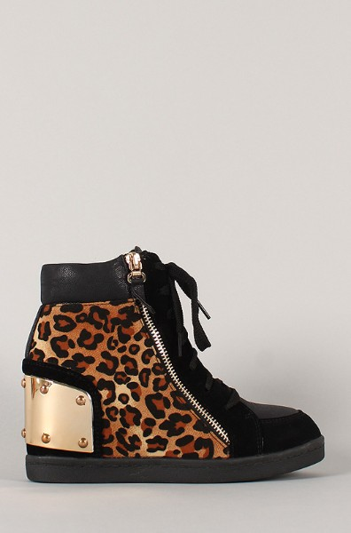 Side View of the Leopard Zipper High Top Wedge Sneaker
