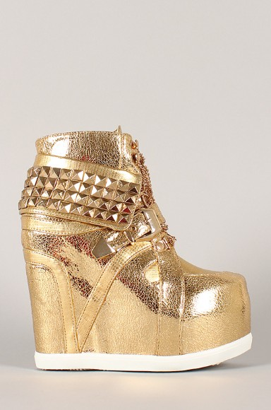 Side View of the Metallic Studded Pyramid Chain Lace Up Wedge Sneaker