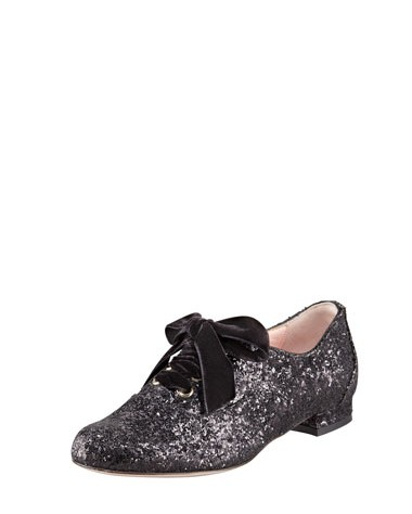 Side View of the RED Valentino Lace-Up Glitter Oxford