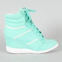Side View of the Stripe Lace Up Wedge Sneaker