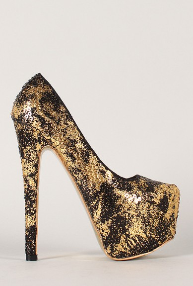 Side View of the Privileged Anouk Two Tone Sequin Almond Toe Stiletto Pump