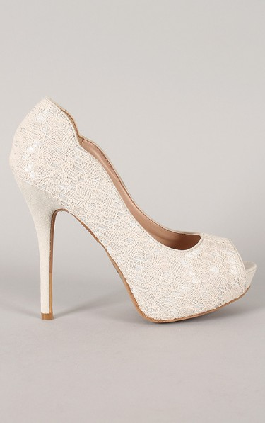 Side View of the Wile Diva Lounge Sonny-113 Lace Peep Toe Platform Pump