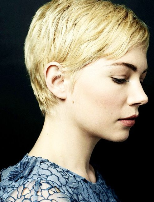 Side view of Short Pixie Cut with Side Swept Bangs