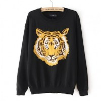 Street-Chic Tiger Head Print Sweater for Women 2014