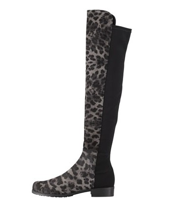 Stuart Weitzman Leopard-Print Suede Over-the-Knee Boot, Smoke