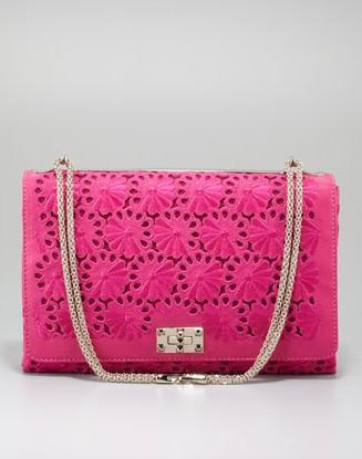 Valentino Floral Lace Cutout Shoulder Bag, Pop Fuchsia