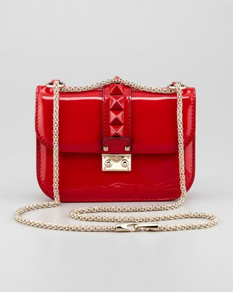 Valentino Punk Lock Mini Patent Stud Crossbody Bag, Red