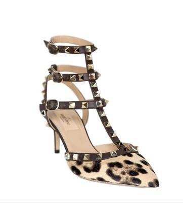 Valentino Rockstud Leopard Ponyskin Pump