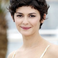 Audrey Tautou Short Haircut: Very Closely Chopped Brunette Curly Pixie Hair