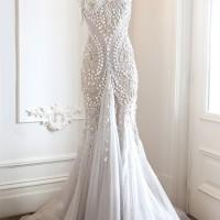 Wedding Dress with Diamond Studs