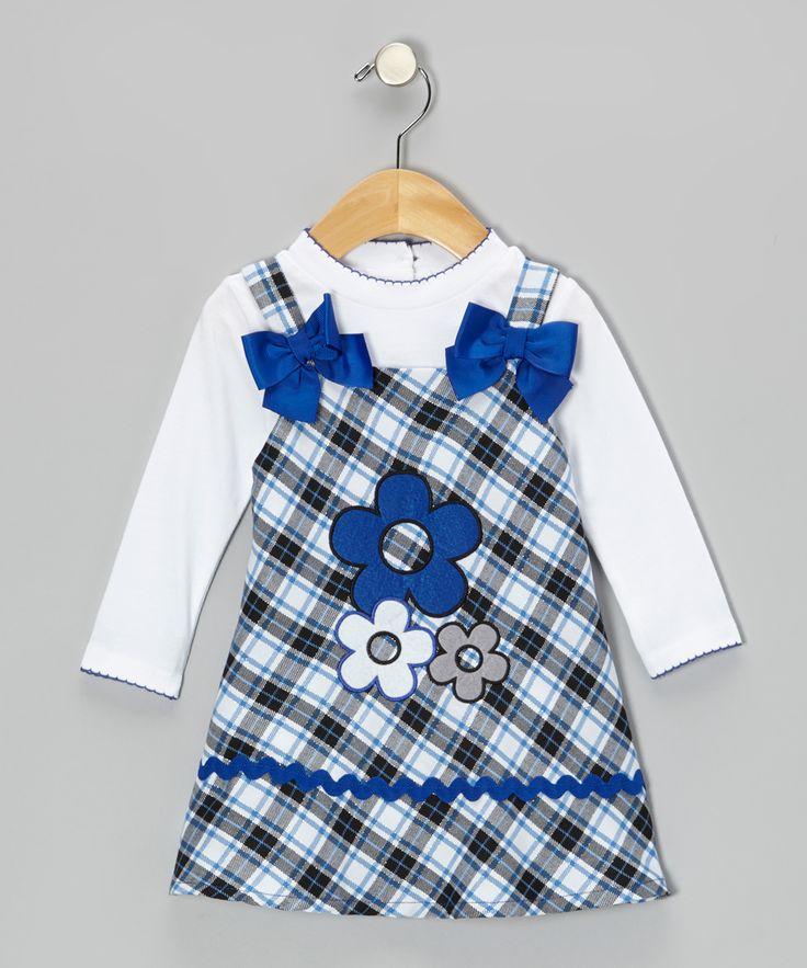 White and Blue Daisy Plaid Dress