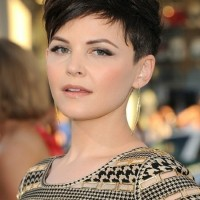 Ginnifer Goodwin Short Haircut: Black Pixie Cut with Side Bangs