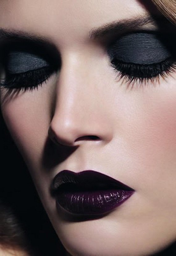 gothic makeup with black heavy eyeshadow